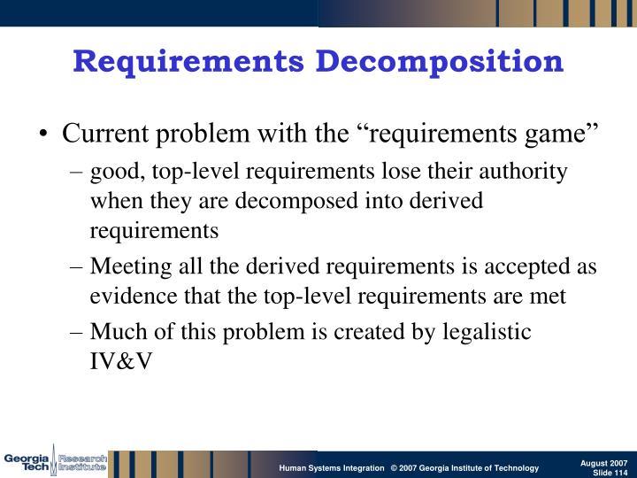 Requirements Decomposition