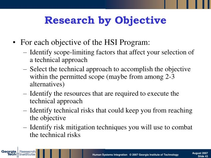 Research by Objective