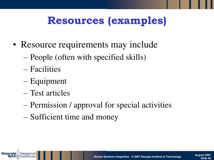Resources (examples)