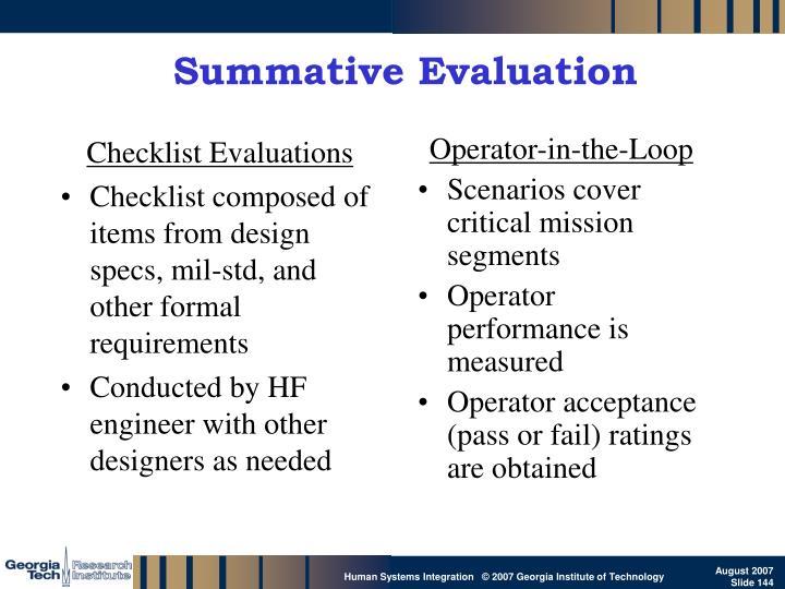 Checklist Evaluations