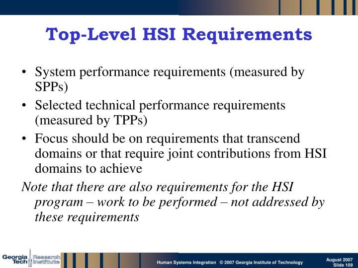 Top-Level HSI Requirements