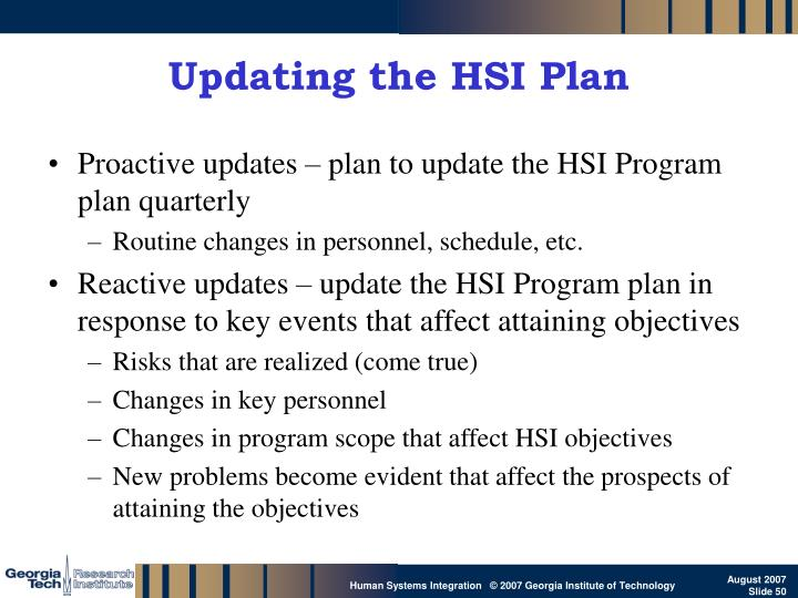 Updating the HSI Plan
