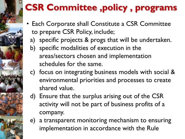 CSR Committee ,policy , programs