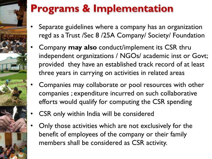 Programs & Implementation
