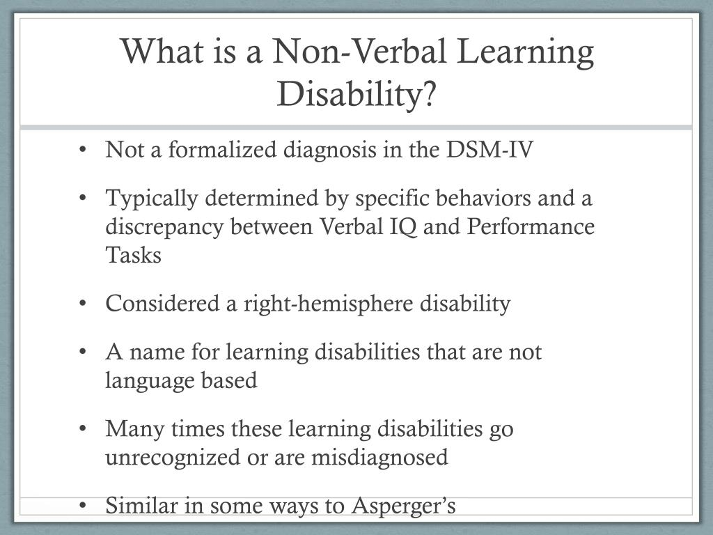 What Is Non Verbal Learning Disorder >> Ppt Sped 780 Class 12 Non Verbal Learning Disabilities