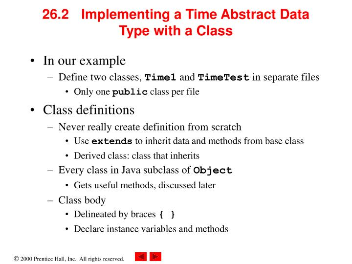 26 2 implementing a time abstract data type with a class