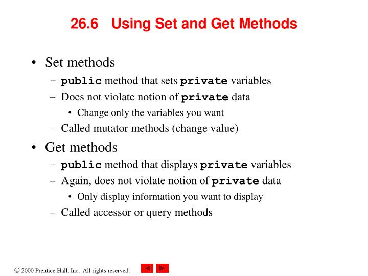 26.6 Using Set and Get Methods
