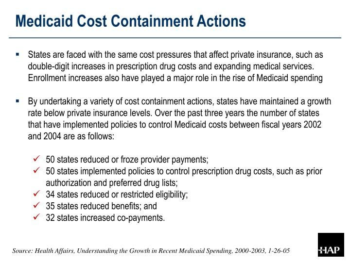 Medicaid Cost Containment Actions