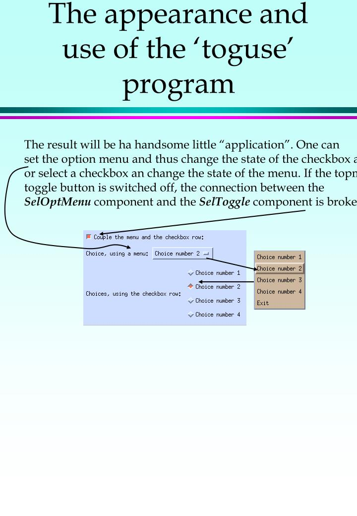 The appearance and use of the 'toguse' program