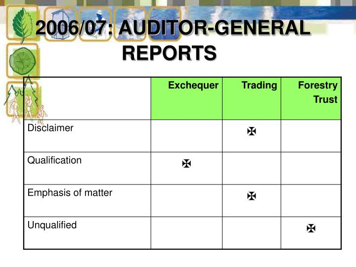 2006/07: AUDITOR-GENERAL REPORTS