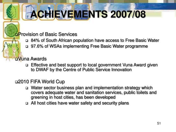 ACHIEVEMENTS 2007/08