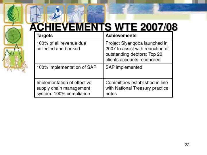 ACHIEVEMENTS WTE 2007/08