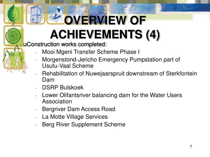 OVERVIEW OF ACHIEVEMENTS (4)