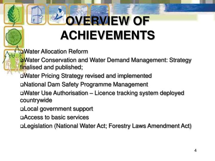 OVERVIEW OF ACHIEVEMENTS