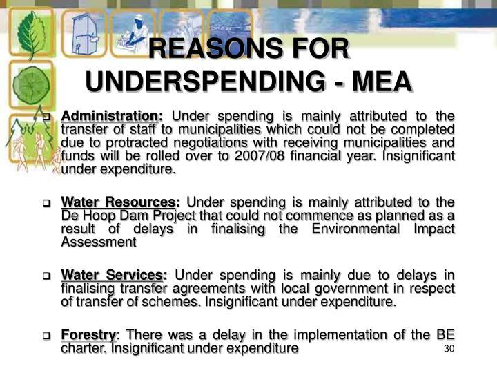 REASONS FOR UNDERSPENDING - MEA