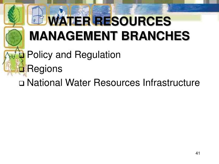 WATER RESOURCES MANAGEMENT BRANCHES
