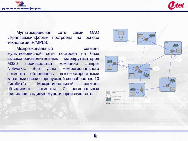 Мультисервисная сеть связи ОАО «Уралсвязьинформ» построена на основе технологии