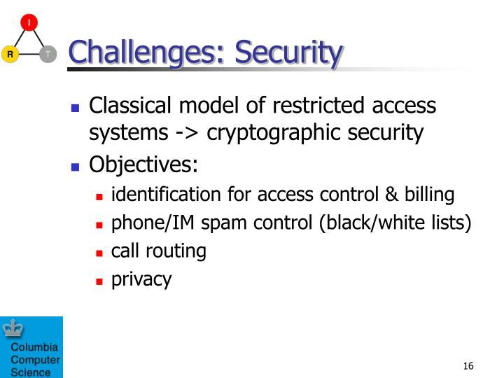 Challenges: Security