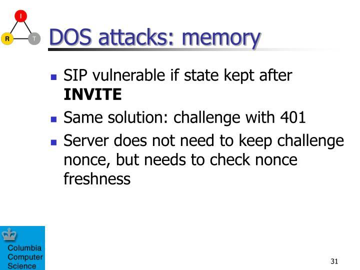 DOS attacks: memory