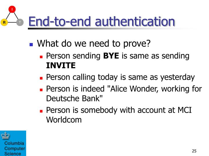 End-to-end authentication
