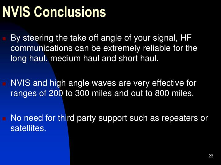 NVIS Conclusions