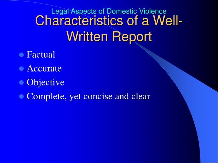 Characteristics of a Well-Written Report