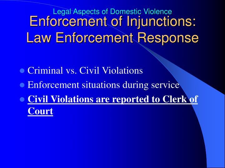 Enforcement of Injunctions: Law Enforcement Response