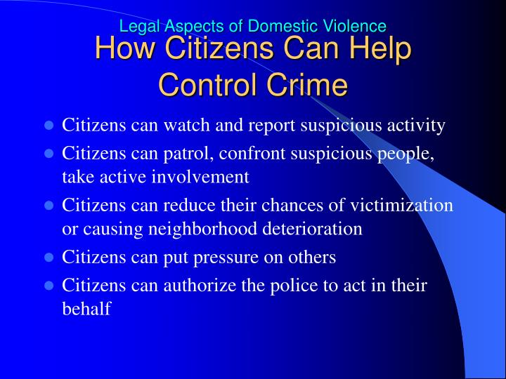 How Citizens Can Help Control Crime