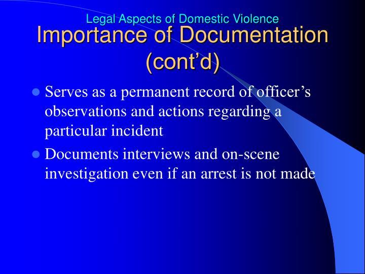 Importance of Documentation (cont'd)