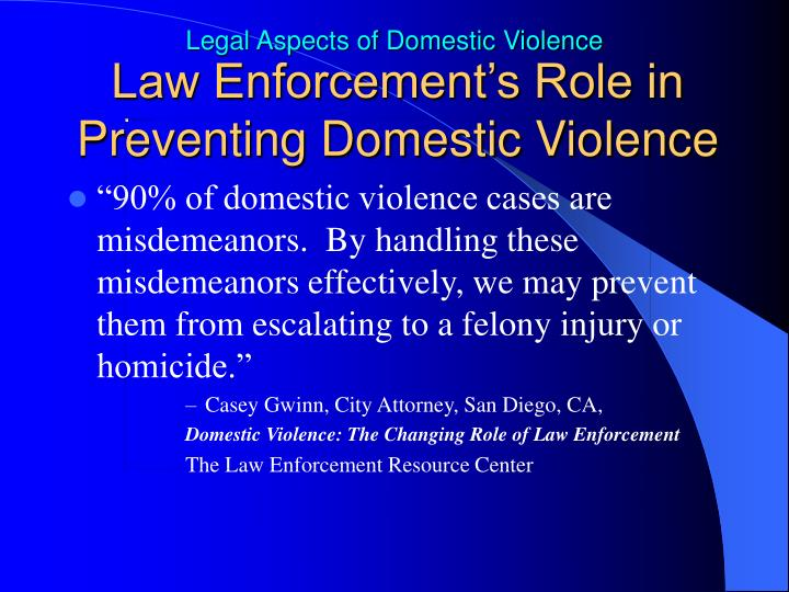 Law Enforcement's Role in Preventing Domestic Violence
