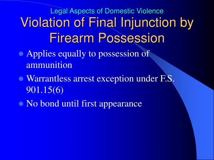 Violation of Final Injunction by Firearm Possession