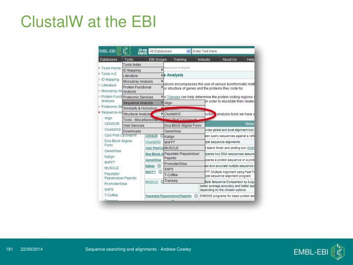 ClustalW at the EBI
