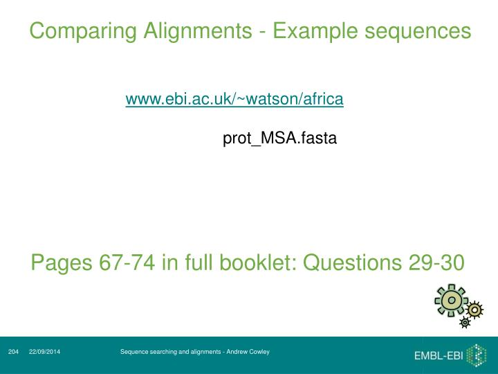 Comparing Alignments - Example sequences