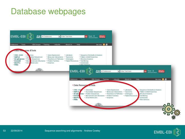 Database webpages