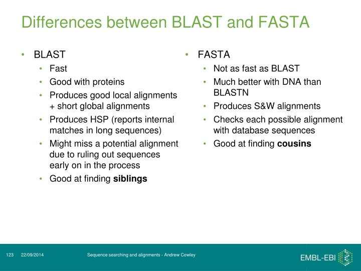 Differences between BLAST and FASTA