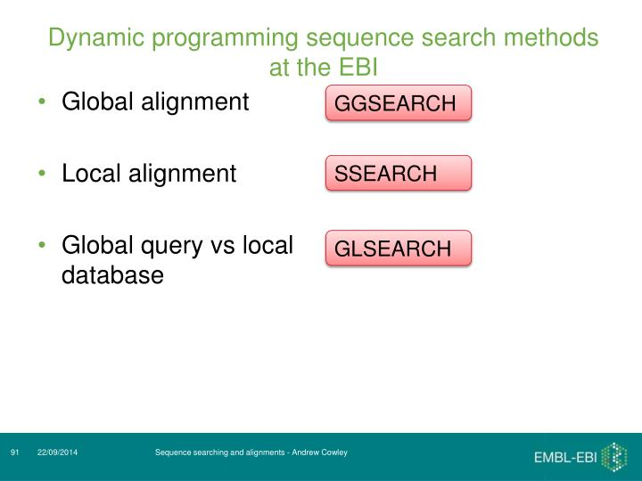 Dynamic programming sequence search methods at the EBI