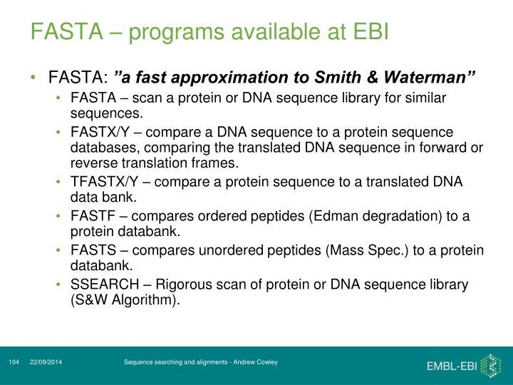 FASTA – programs available at EBI