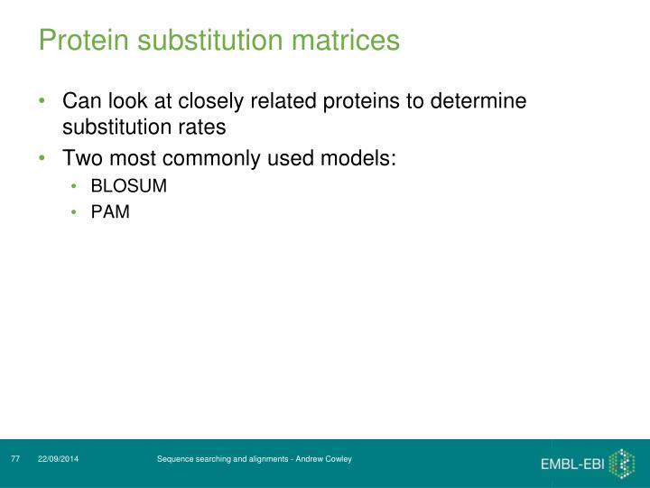 Protein substitution matrices
