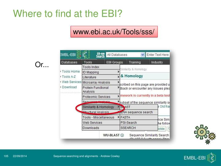 Where to find at the EBI?