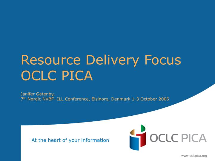 resource delivery focus oclc pica n.