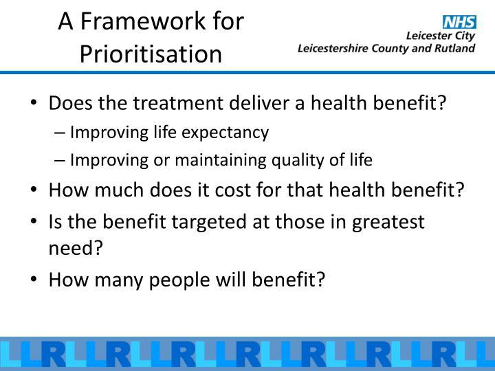 A Framework for Prioritisation