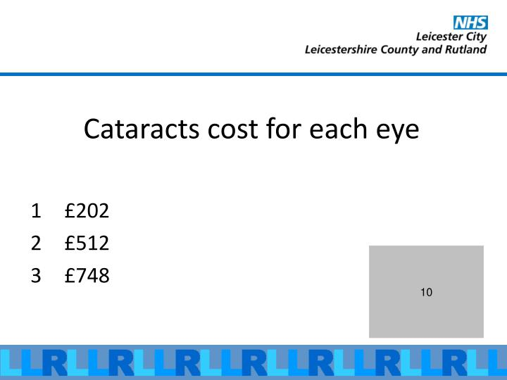 Cataracts cost for each eye