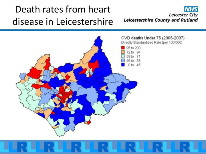 Death rates from heart disease in Leicestershire