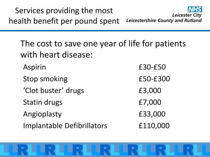 Services providing the most health benefit per pound spent