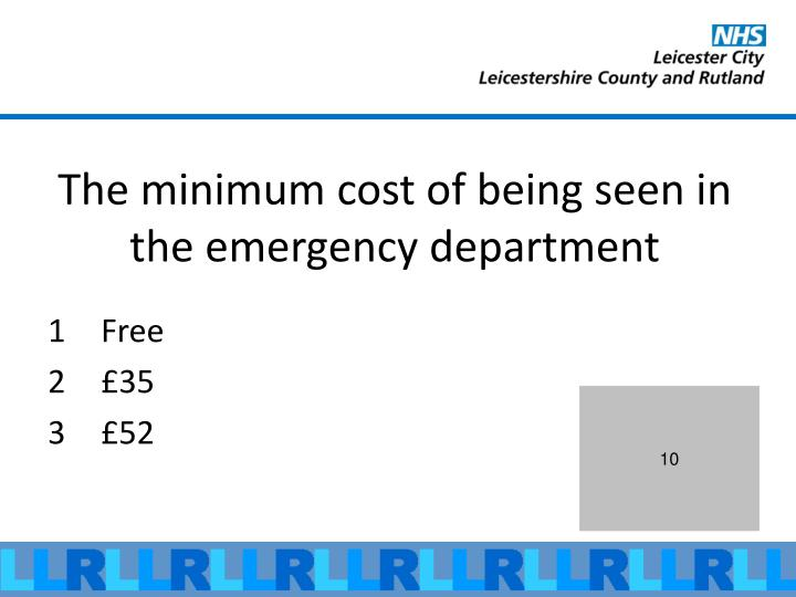 The minimum cost of being seen in the emergency department