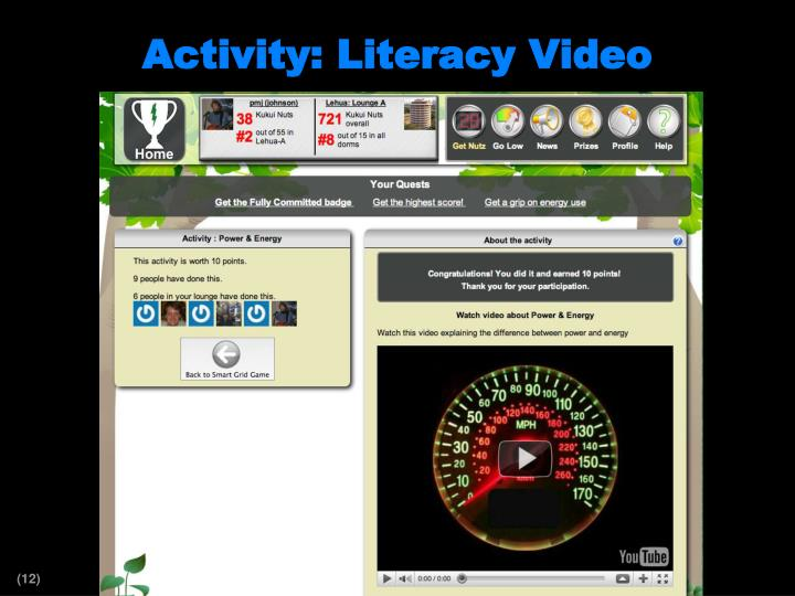 Activity: Literacy Video
