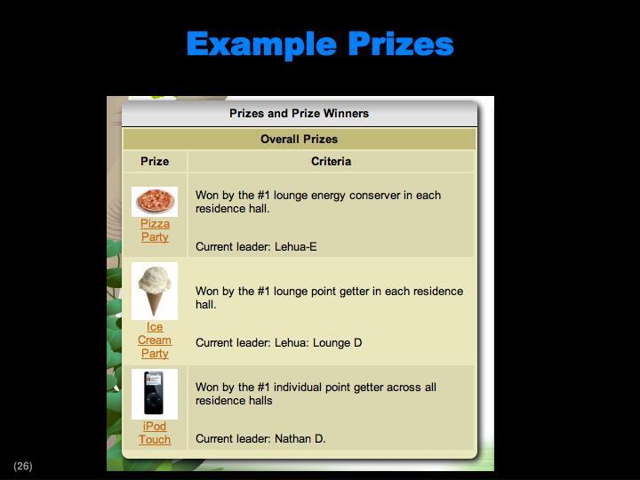 Example Prizes