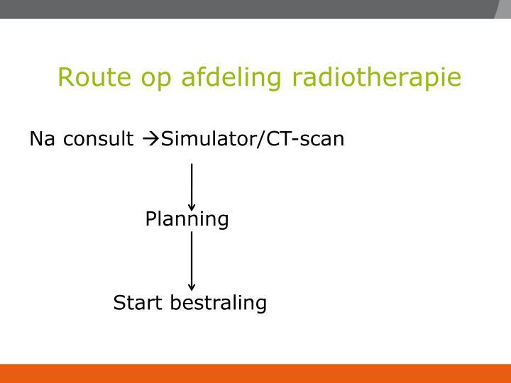 Route op afdeling radiotherapie