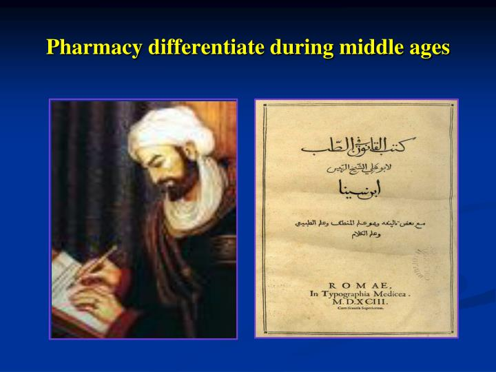 Pharmacy differentiate during middle ages