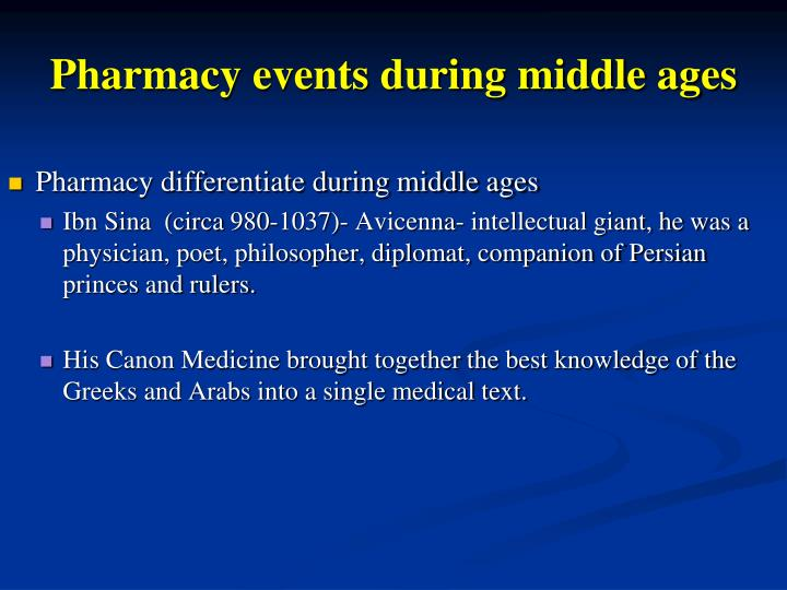 Pharmacy events during middle ages
